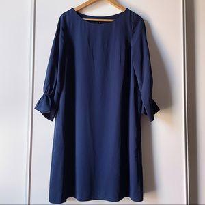 RW&CO navy blue lined sheath midi dress